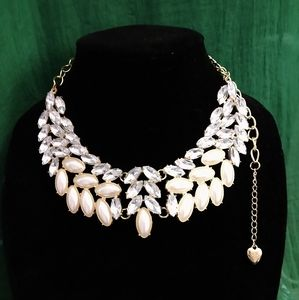 Large Pearl & Rhinestone Betsey Johnson Necklace